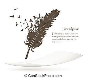 papier, veer, vliegen, oud, vogels