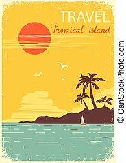 paradise., tropische , zon, zomer, eiland, vector, poster