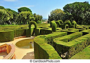 parc, laberint, barcelona, del, d'horta, spanje