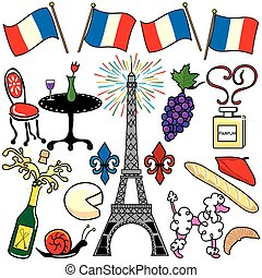 parijs frankrijk, communie, clipart, iconen