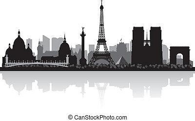 parijs, stad skyline, silhouette, frankrijk