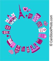 parijs, wereld, vector, -, illustratie