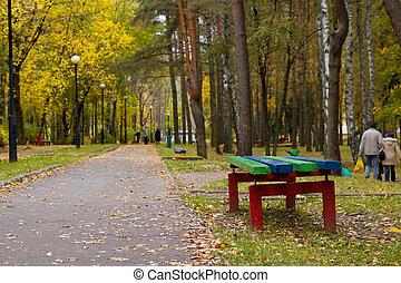 park, afsluiten, herfst, bankje, gele, op