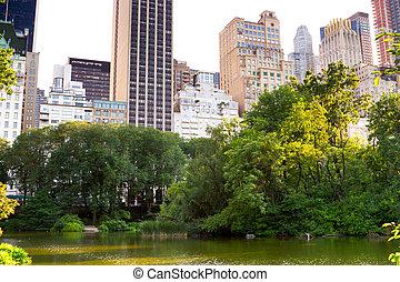 park, centraal, york, vijver, nieuw
