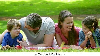 park, deken, schattig, het liggen, gezin
