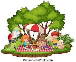 park, geitjes, vrijstaand, picknick