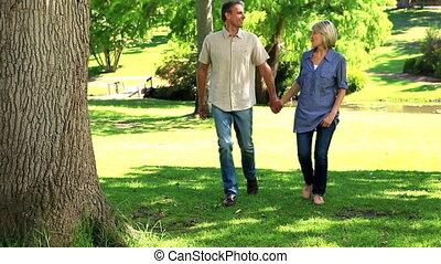 park, gelukkig paar, wandelende