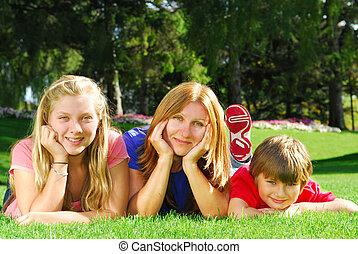 park, gezin, relaxen