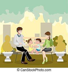park, gezin, zittende
