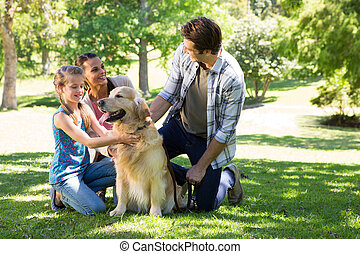 park, hun, familie hond, vrolijke