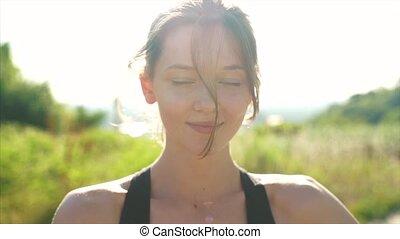 park, jonge, mooi, fototoestel, het glimlachen, buiten, meisje