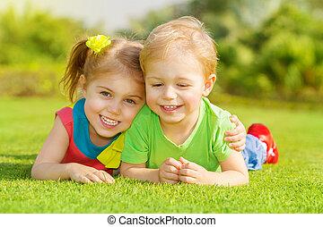 park, kinderen, vrolijke