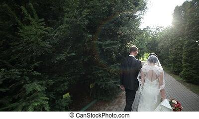 park, newlyweds, wandeling