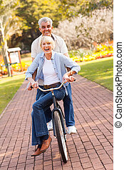 park, paar, cycling, senior