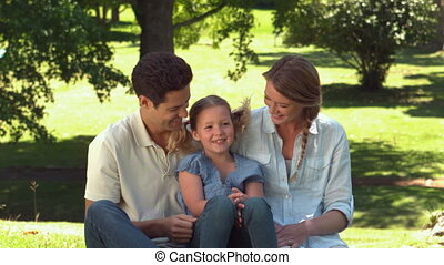 park, relaxen, gezin, jonge