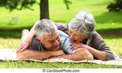 park, relaxen, paar, senior