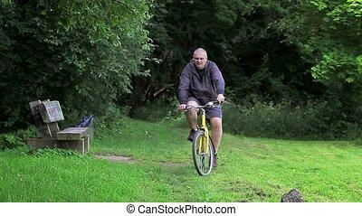 park, rijden, fiets, man