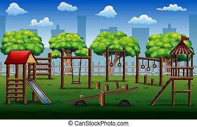 park, speelgoed, kinderen, speelplaats, stad