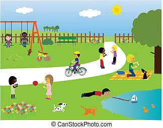 park, spelende kinderen