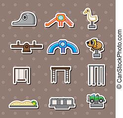 park, stickers, spotprent, speelplaats
