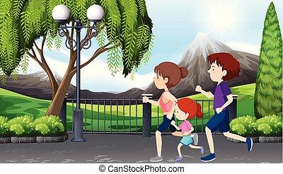 park, uitvoeren, scène, gezin