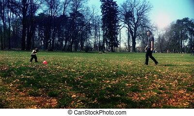 park, vader, spelend, zoon