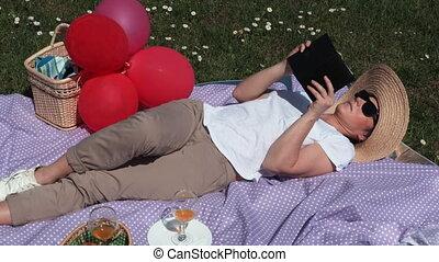 park, vrouw, picknick
