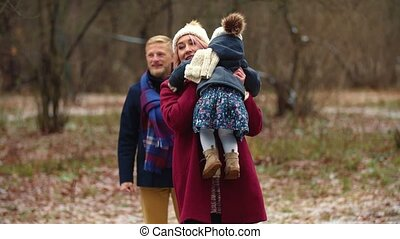 park, wandelingen, winter, gezin