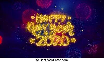 particles., wensen, vrolijke , jaar, nieuw, tekst, ontploffing, ftirework, 2020, kleurrijke