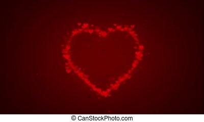 partikels, steegjes, hart, verschijnen, vorm, rood, kleine