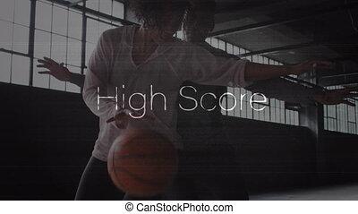partituur, vrouw, man, op, woorden, basketbal, spelend, hoog, animatie