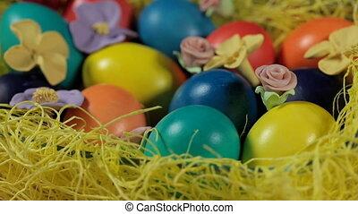 pasen, kleurrijke, basket., eitjes