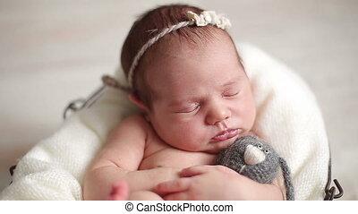 pasgeboren baby, meisje, slapende