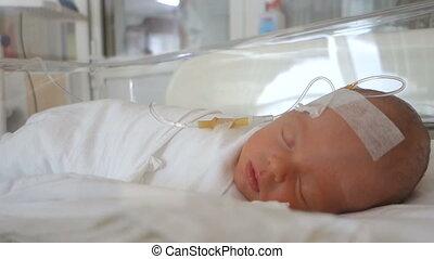 pasgeboren baby, ziekenhuis, druppel, slapende