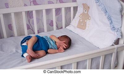 pasgeboren, ligt, wiegje, baby