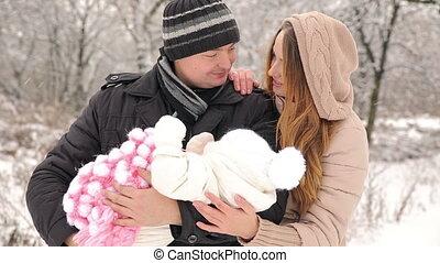 pasgeboren, ouders, vrolijke