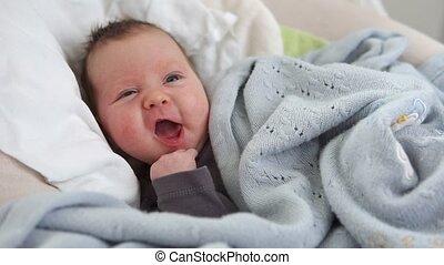 pasgeboren, schattig, wiegje, baby