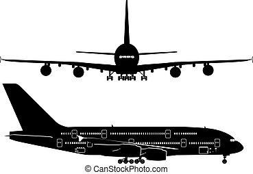 passagier, silhouettes, straalvliegtuig
