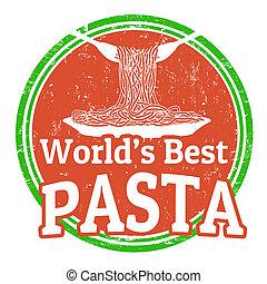 pasta, postzegel, wereld, best