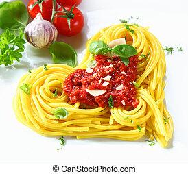 pasta, tomaat, hartvormig