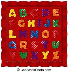 pastel, gingham, stikken, punten, alfabet, polka, achtergrond, baby, controleren, rood