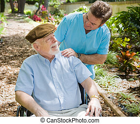 patiënt, bejaarden, verpleegkundige