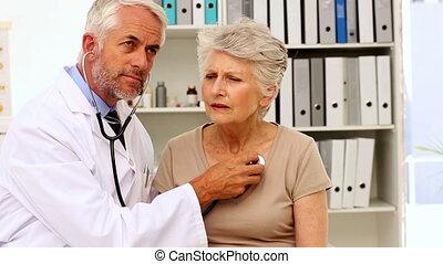 patiënten, het luisteren, borst, arts