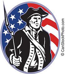 patriot, bajonet, vlag, minuteman, amerikaan, geweer