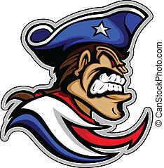 patriot, grafisch, illus, vector, betekenen, uitdrukking, hoedje, mascotte