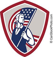 patriot, schild, usa dundoek, amerikaan, vasthouden