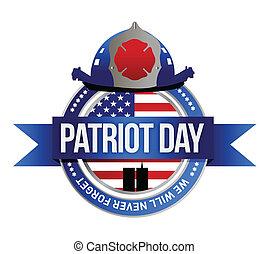 patriot, vuur vechters af, illustratie, seal., dag