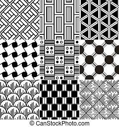 patte, seamless, monochroom, geometrisch