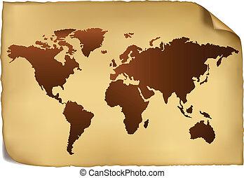 pattern., kaart, wereld, ouderwetse