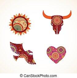 patterned, communie, iconen, van een stam, verzameling, boheems, voorwerpen